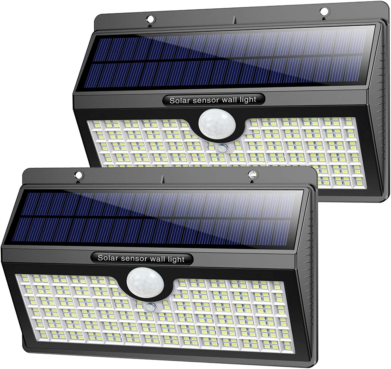 Luz Solar Exterior, Pxwaxpy【286 LED & 2600 Lumen】 Luces Solares con Sensor de Movimiento Foco LED Solar Exterior, 2500mAh Lámpara Solar Impermeable IP65 con 3 Modos para Jardín (2 Paquete)