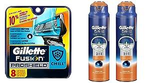 Gillette Fusion ProShield Chill Bundle (8 Razor Blades and 2 Shave Gels)