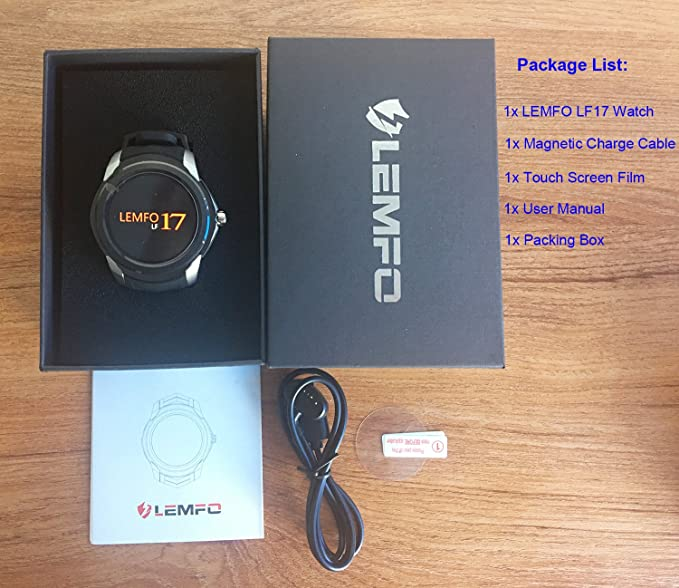 LEMFO LF17 Android 5.1 Smart Watch RAM 512MB ROM 4GB Bluetooth Smartwatch Support Heart Rate Monitor GPS WiFi SIM TF Card (Black)