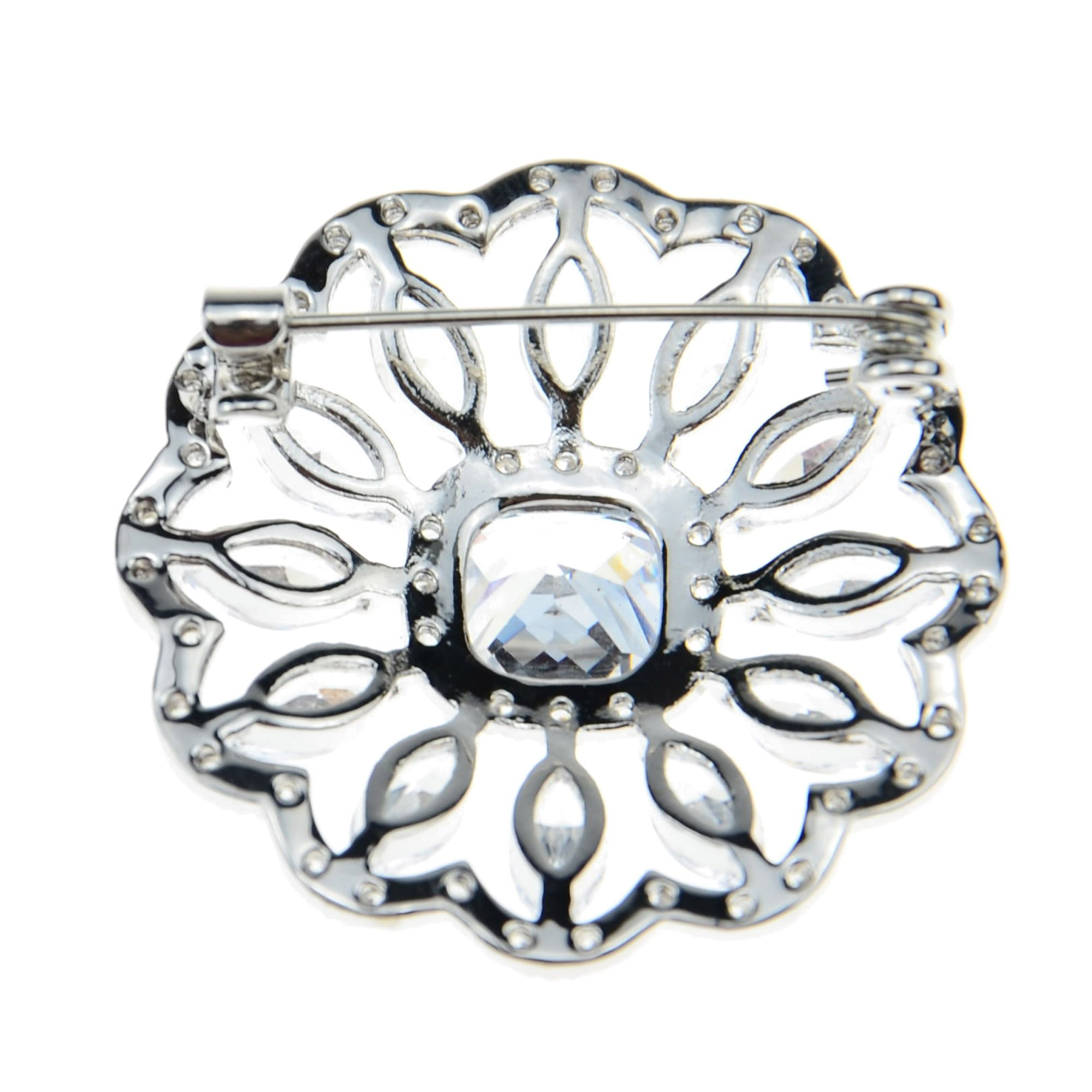 SHINYTIME Rhinestone Brooch Pin Crystal Fashion Clear Pins Women Wedding Brooches Silver Jewelry with Box by SHINYTIME (Image #3)