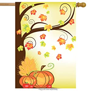 """ShineSnow Autumn Crops Thanksgiving Harvest Pumpkin House Flag 28"""" x 40"""" Double Sided, Polyester Apple Maple Leaf Yellow Welcome Yard Garden Flag Banners for Patio Lawn Home Outdoor Decor"""