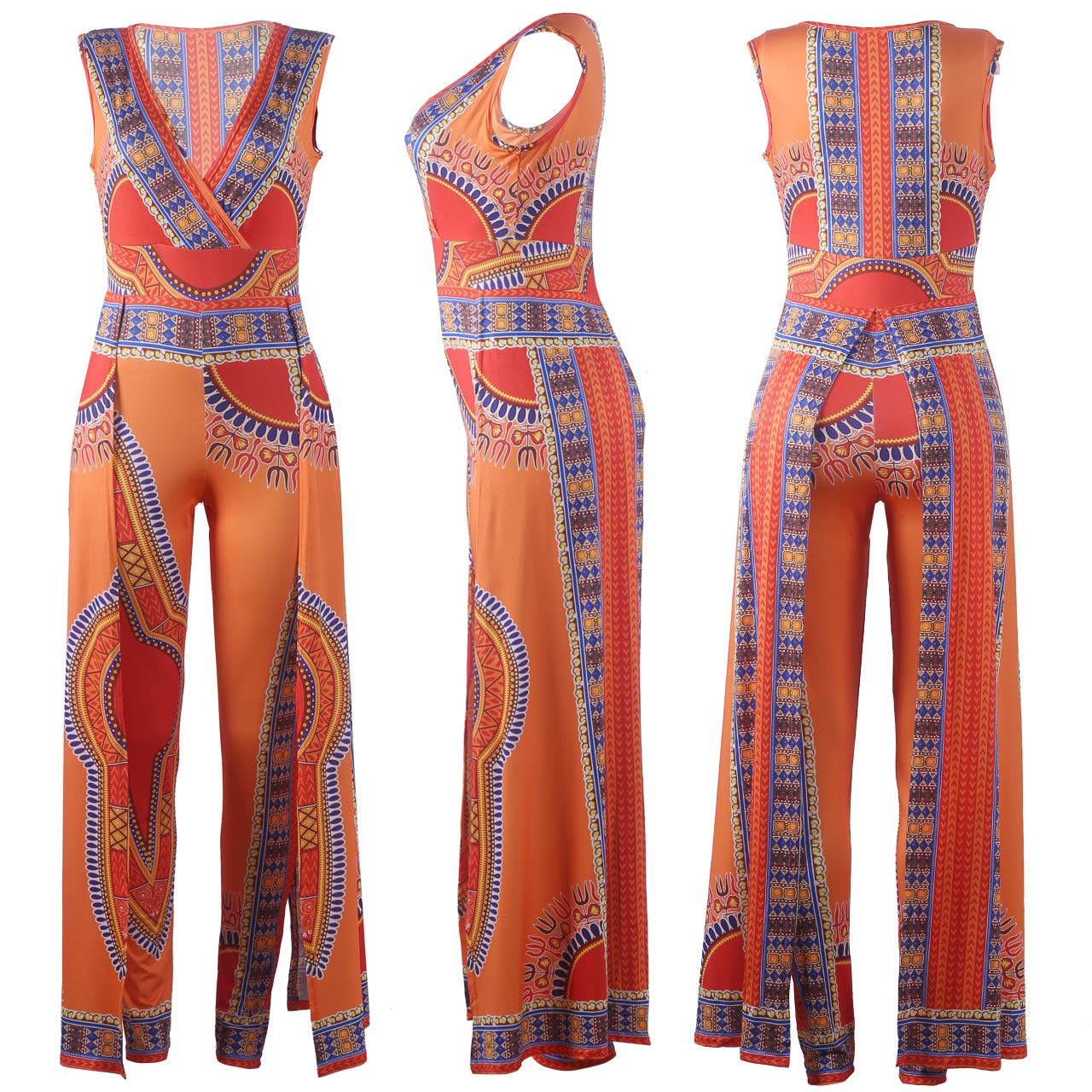 vnytop Women African Ethnic Paisley Print V Wrap Sleeveless Long Jumpsuit Romper Dress