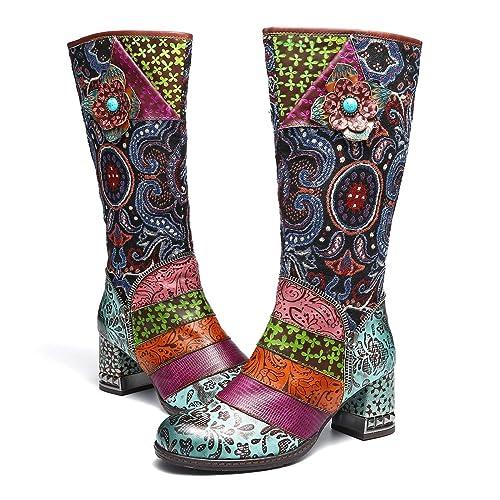 Botas Altas para Mujer Cuero de Invierno,Camfosy City Shoes con Piel de Tacón Alto Cómodos Botines Rojos Cálidos para Mujer Colorees Bohemios Originales: ...