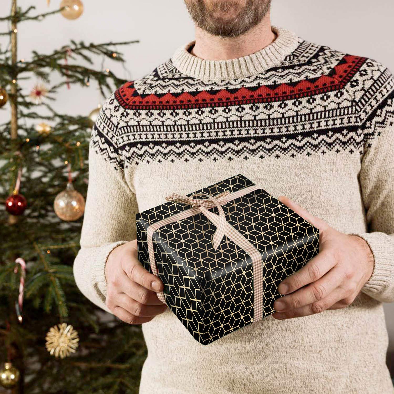 70 x 50cm MOOKLIN ROAM Papel de Regalo Christmas para Ni/ños Hombre Mujer de Regalos Bodas Cumplea/ños 3 Hojas Surtidos de Papel de Envoltura de Regalo Dorado con Dise/ño geom/étrico en 3 Colores