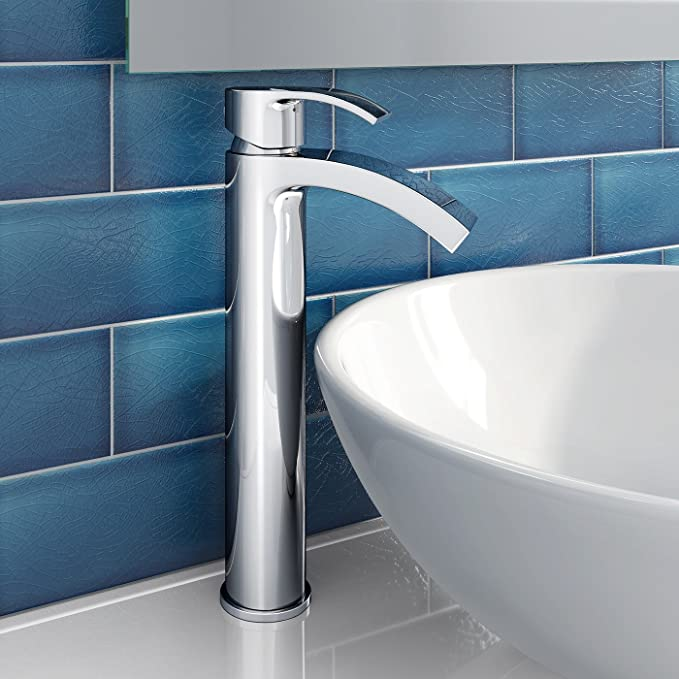 Tall Curved Counter Top Basin Mixer Tap Chrome Bathroom Sink Faucet ...
