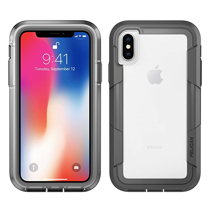 new concept c54ce ebac9 iPhone X Case | Pelican Voyager iPhone X Case (Clear/Grey)