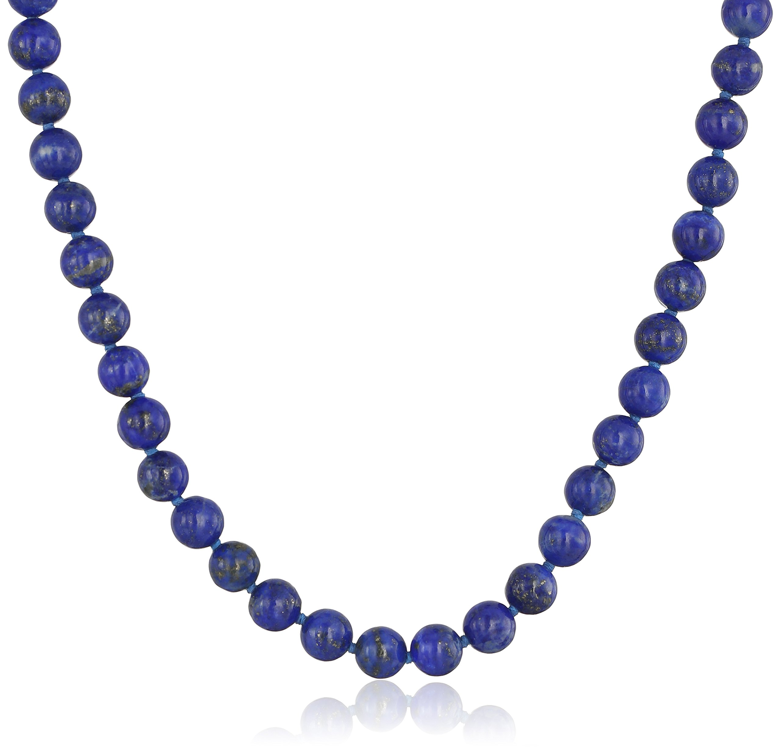 Sterling Silver 6mm Lapis Lazuli Necklace, 24''