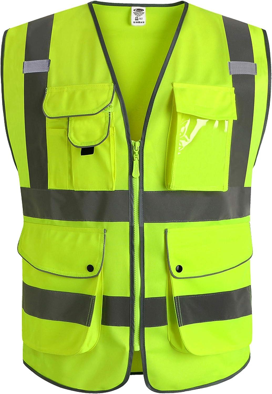 Jksafety Neun Taschen Unisex Hohe Sichtbarkeit Warnweste Reflektierende Weste Reißverschluss En Iso 20471 Gelb 3x Large Baumarkt