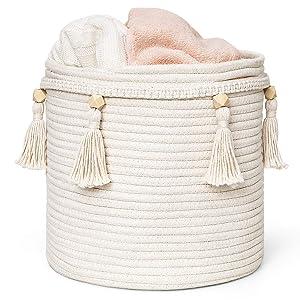 "Mkono Macrame Decorative Cotton Rope Basket Boho Cute Woven Tassel Closet Storage Bins Organizer for Nursery,Baby Toys,Magazines, Potted Plants Cover,Living Room,Bedroom,Bohemian Home Decor,11"" x 11"""