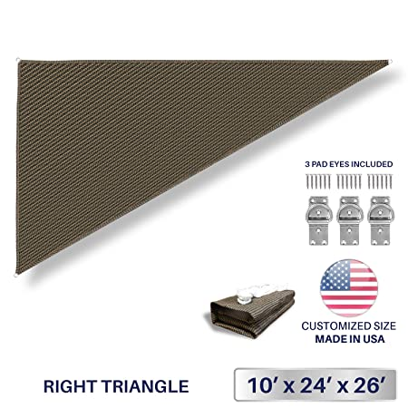 Windscreen4less 10 x 24 x 26 Triangle Sun Shade Sail – Brown with Black Strips Durable UV Shelter Canopy for Patio Outdoor Backyard Included Free Pad Eyes – Custom Size 3 Year Warranty