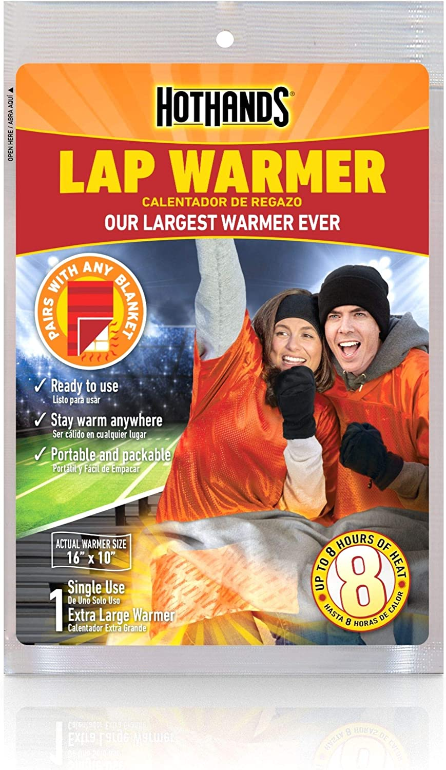 """HotHands Lap Warmer, Largest Warmer 16"""" X 10"""" - Up to 8 Hours of Long Lasting Heat - 1 Lap Warmer"""