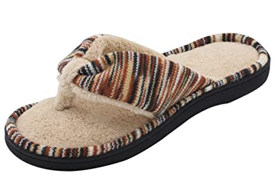 Amazon.com | Women\'s Spa Thong House Slippers w/ Plush Memory Foam ...