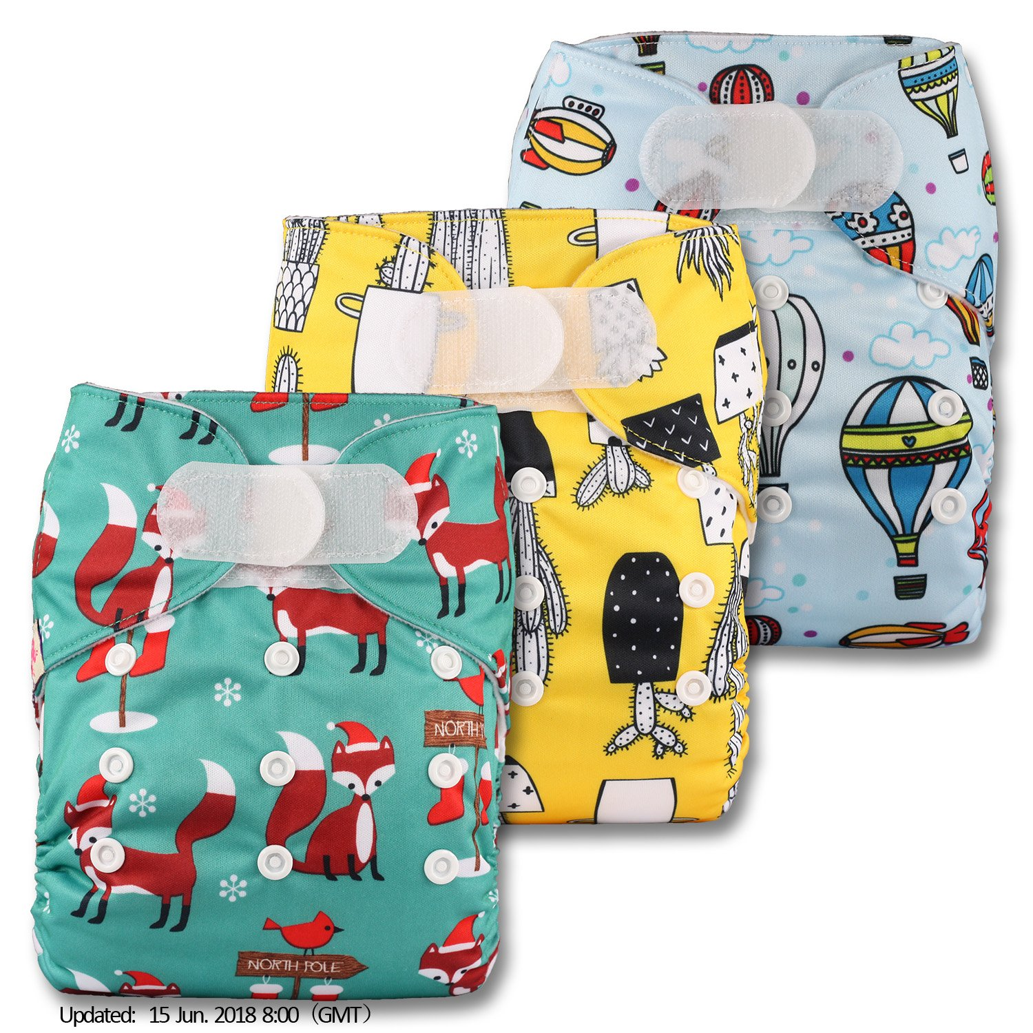 Set of 3 Fastener: Hook-Loop Reusable Pocket Cloth Nappy Patterns 324 Littles /& Bloomz with 3 Bamboo Charcoal Inserts