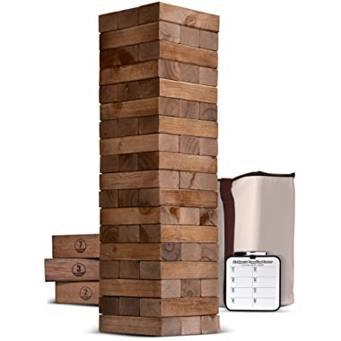 GoSports Giant Wooden Toppling Tower (Stacks to 5+ Feet) | Choose Between Natural, Brown Stain or Gray Stain | Includes Bonus Rules with Gameboard | Made from Premium Pine