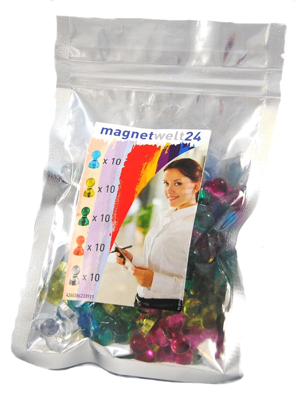 farbige transparente Magnet-Pins / Push-Pins für Whiteboards, Karten ...