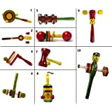 Set of 10 Colorful Wooden Baby Rattle Toys : Model RA-OW020
