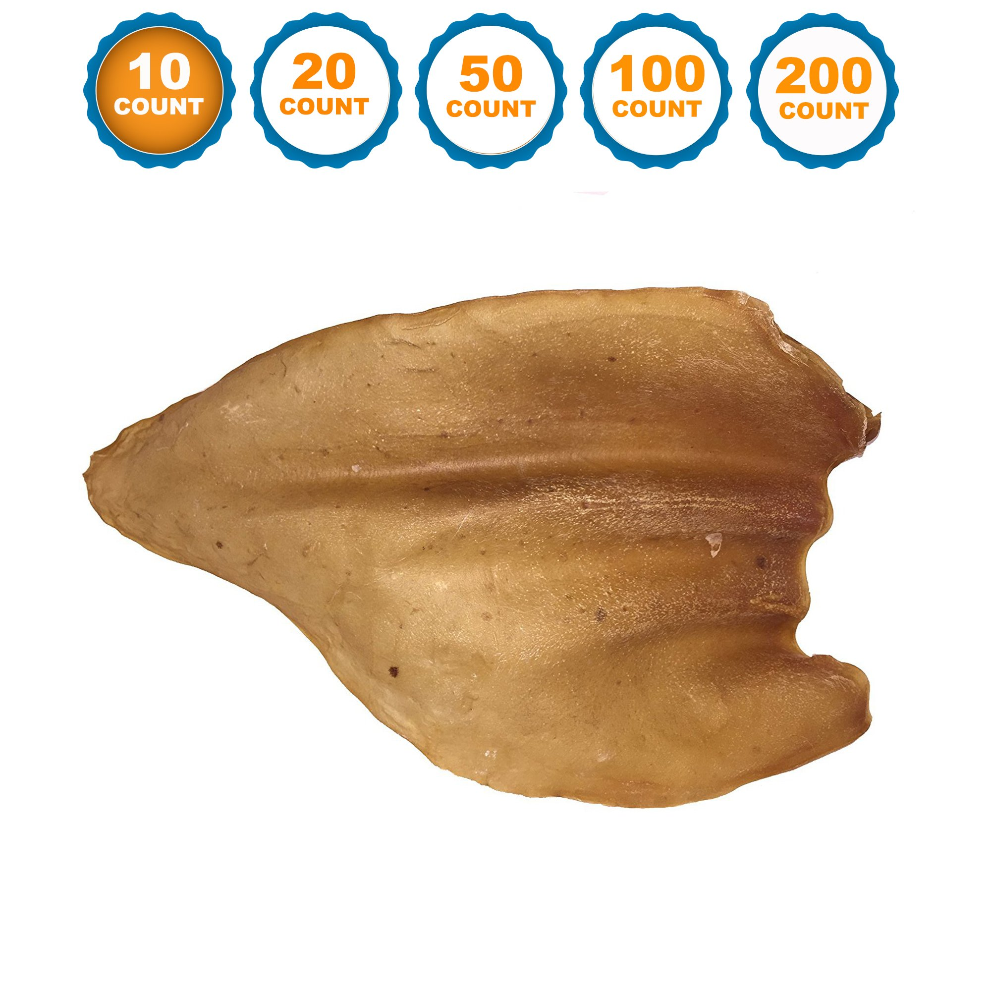 123 Treats - Dog Chews Cow Ears (10 Count) 100% Natural Animal Ears From Free Range Grass Fed Cattle No Hormones, Additives Chemicals