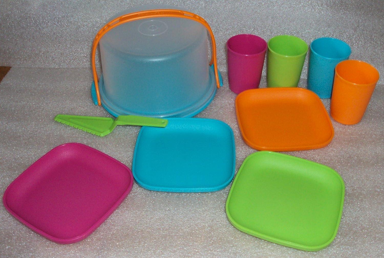 Tupperware Kids Mini Cake Taker w/ Plates & Cups Set, New Colors ...