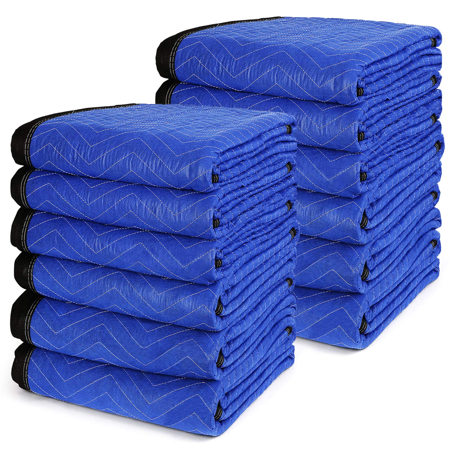 72 x 80 Inches Pro Moving Blankets Pack of 12 - TUSY Packing Blankets 65lb, Ultra Thick Professional Quality Moving Skins