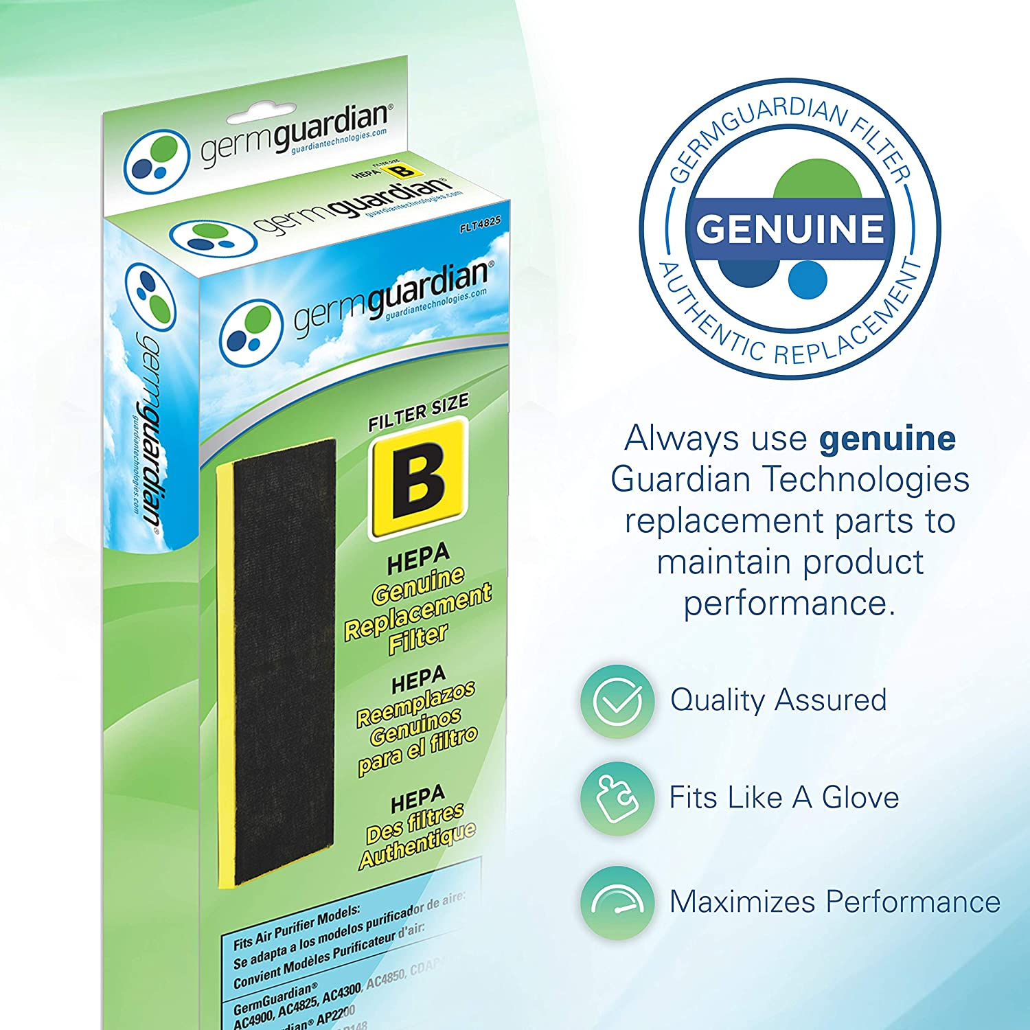 Germ Guardian FLT4825 True HEPA GENUINE Air Purifier Replacement Filter B for GermGuardian AC4300BPTCA, AC4900CA, AC4825, AC4825DLX, AC4850PT, CDAP4500BCA, CDAP4500WCA, and More