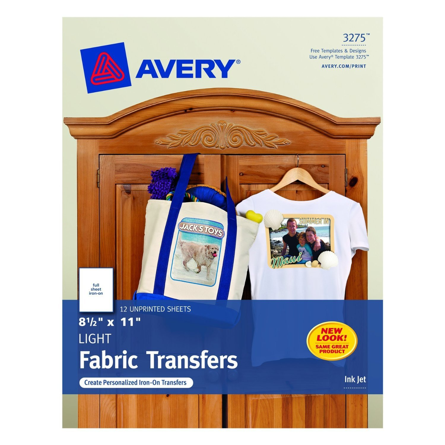 Avery T-Shirt Transfers for Inkjet Printers, 8.5 x 11 Inches, 6 Pack (03275)
