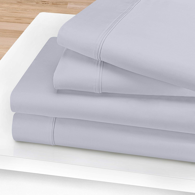 SUPERIOR Egyptian Cotton Solid Deep Pocket Sheet Set, King, Light Blue, 4-Pieces