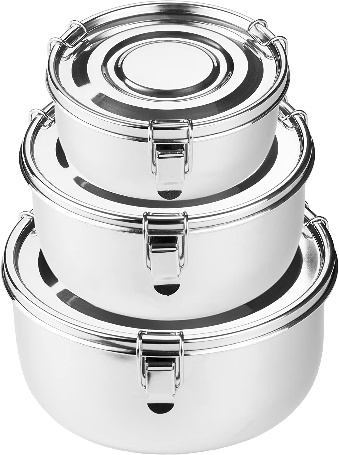 Premium Stainless Steel Food Storage Containers | 316 Grade | The Original Leak-Proof, Airtight, Smell-Proof - Perfect For Camping Trips, Lunches, Leftovers, Soups, Salads & More (Set of 3)
