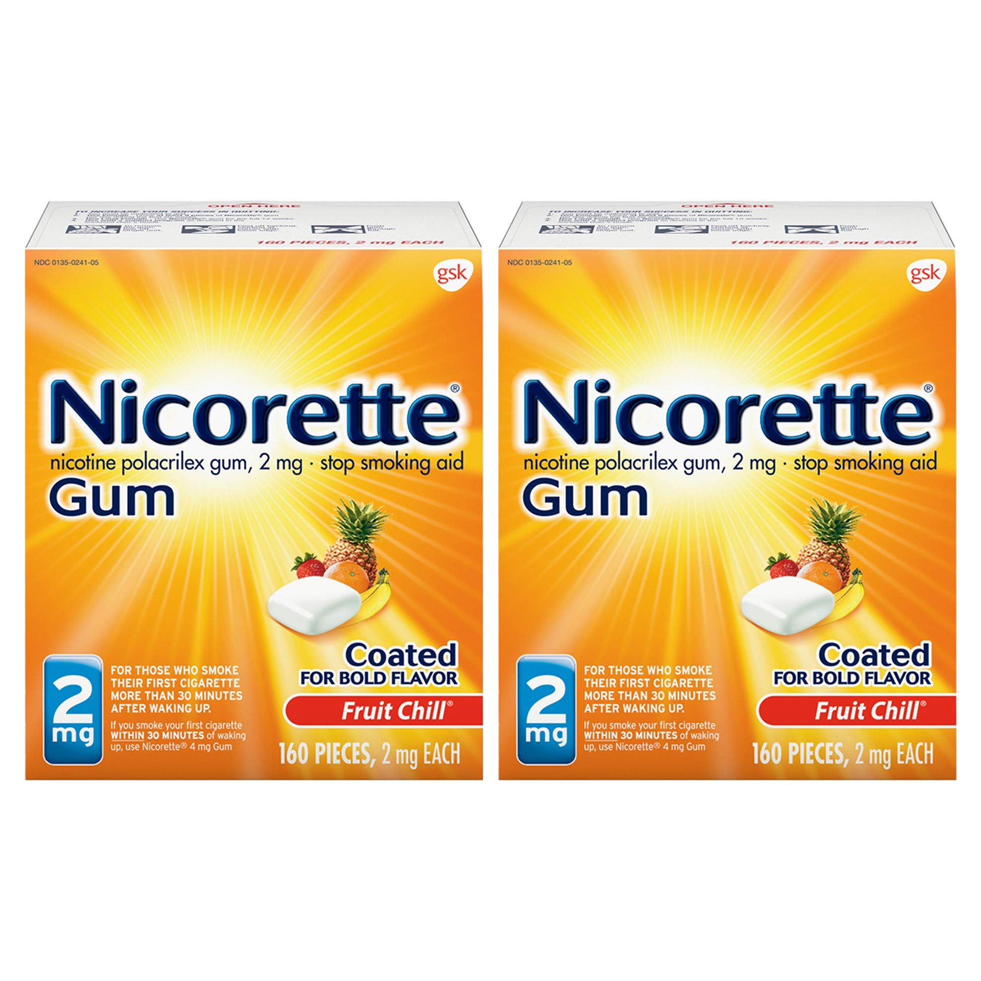 Nicorette 2mg Nicotine Gum to Quit Smoking , Fruit Chill (Pack of 2)