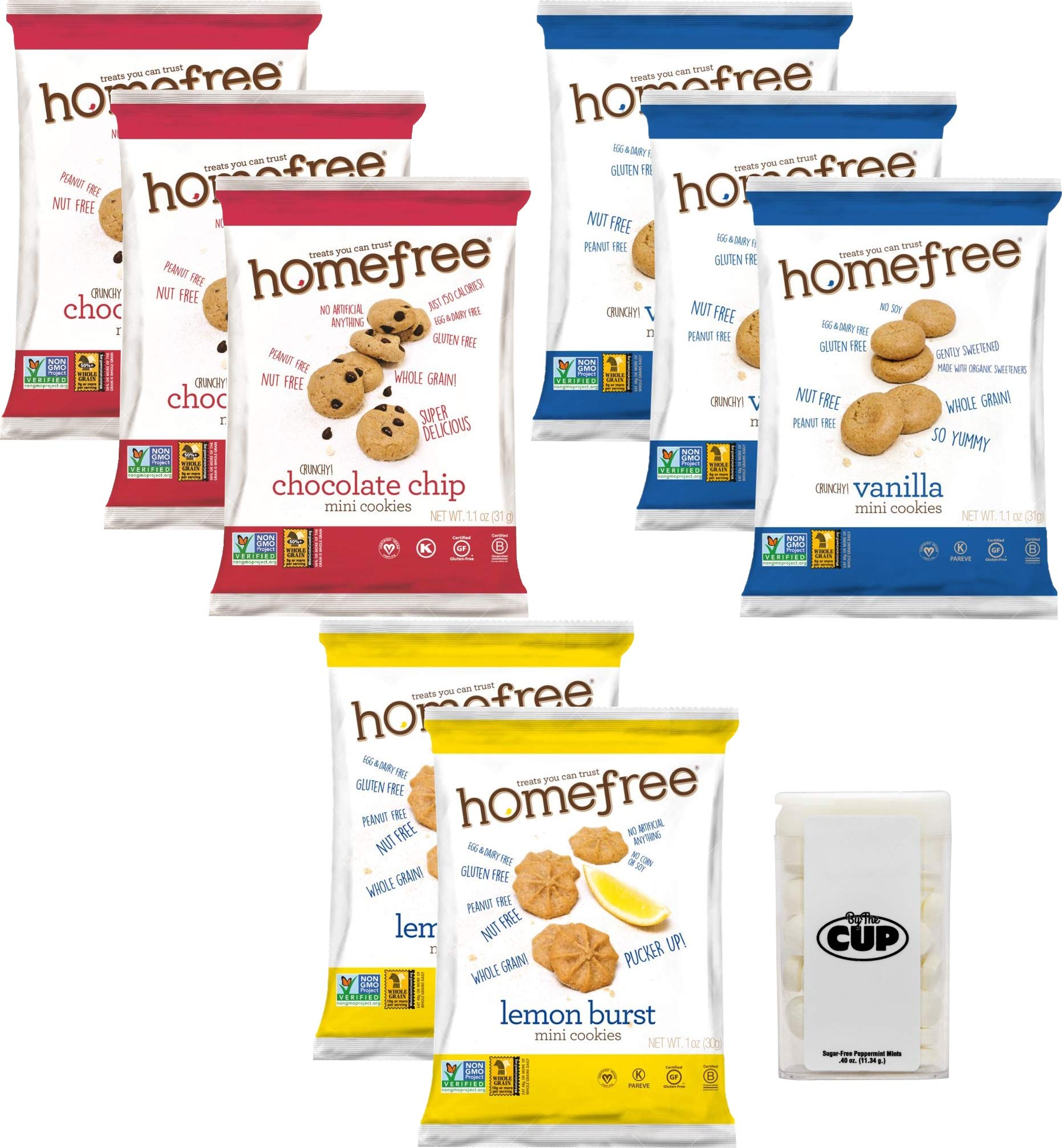 Homefree Gluten Free Cookies 3 Flavor Variety Pack, 8 Count with By The Cup Mints by By The Cup