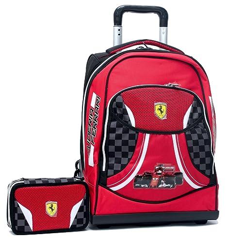 21a31d5a58 Promo Scuola Zaino Trolley Premium + Astuccio 3 Zip Ferrari Kids ...