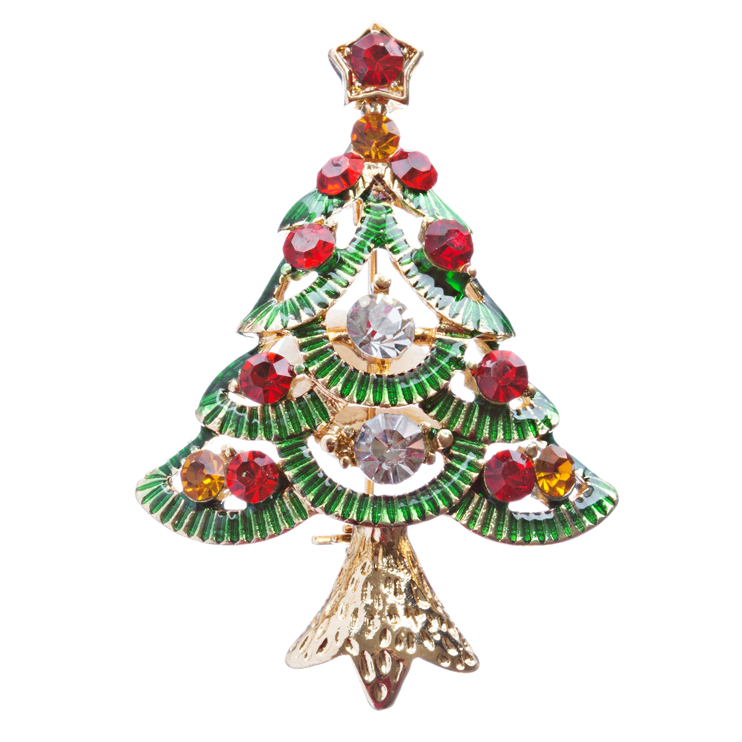 ACCESSORIESFOREVER Christmas Jewelry Crystal Rhinestone Glamorous Holiday Tree Brooch Pin B141 MT