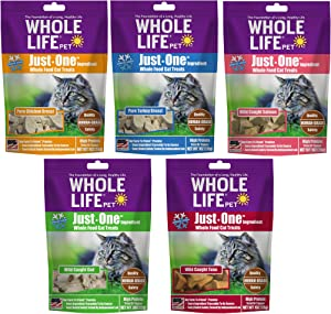 Whole Life Pet Healthy Cat Treats Variety Pack, Human-Grade Chicken, Turkey, Tuna, Salmon and Cod, Protein Rich for Training, Picky Eaters, Digestion, Weight Control, Made in The USA, 4 Ounce