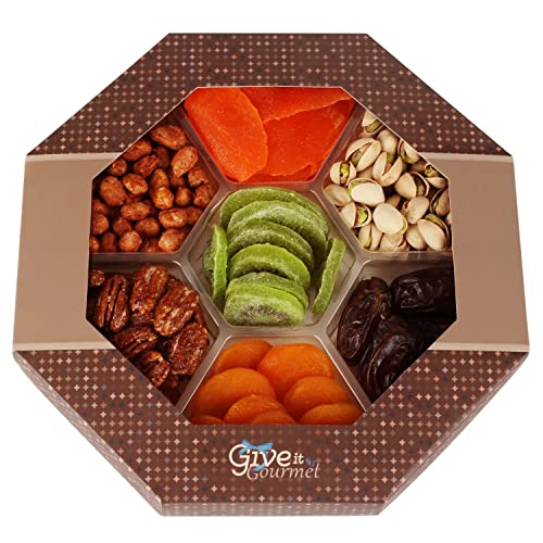 Give It Gourmet Assorted Dried Fruits And Nuts Gift Basket 7 Section Delicious Dried