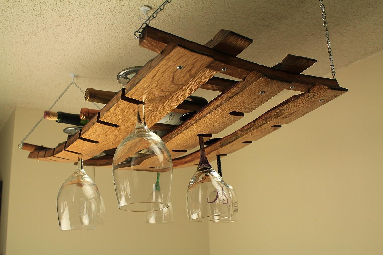 amazoncom hanging wine bottle and glass rack made from oak wine  - amazoncom hanging wine bottle and glass rack made from oak wine barrelstaves kitchen  dining