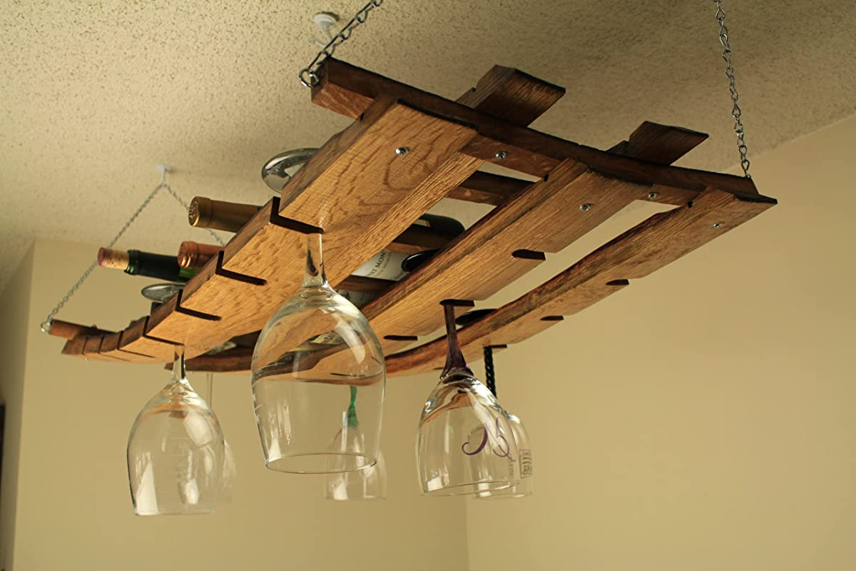 Hanging wine bottle and glass rack made from oak wine barrel staves