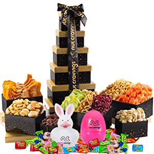 Easter Gift Basket For Adults, Candy Filled Eggs & Bunny, Gourmet Arrangement Nut & Dried Fruit Tower (12 Variety) Healthy Food Platter - Family, Women, Men, Kids, Boys, Girls