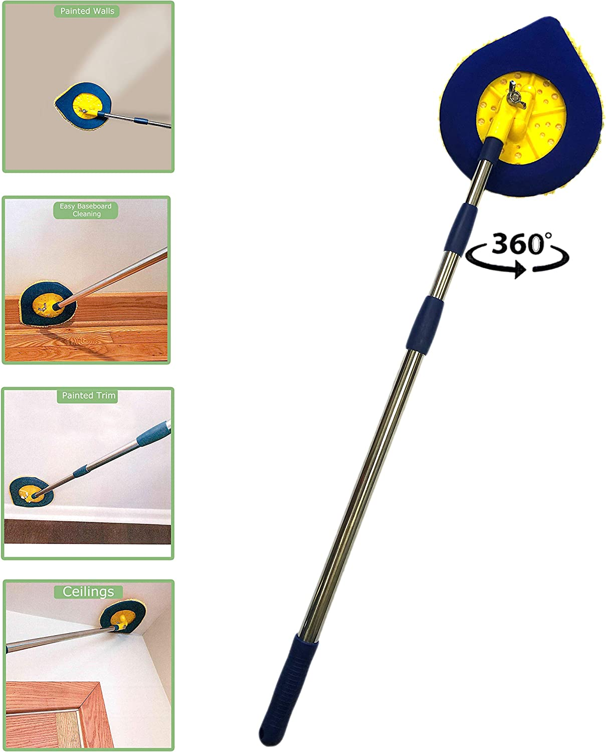 Chomp Long Handle Dust Mop:5 Minute CleanWalls Extendable Wall Washer, Ceiling Cleaner and Baseboard Duster - Telescoping Dry Dust / Wet Wash Cleaning Mop with Washable Microfiber Pad