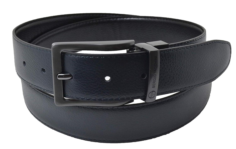 TAGLIA 120 Regolabile e Accorciabile Fibbia Rettangolare Sergio Tacchini Cintura Reversibile Uomo In Vera Pelle