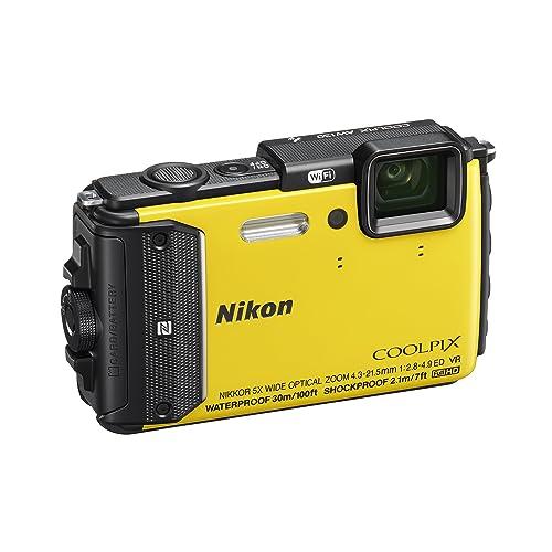 "Nikon Coolpix AW130 Fotocamera Digitale Compatta, 16 Megapixel, Zoom 5X, 6400 ISO, OLED 3"", Full HD, Subacquea, Antiurto, Antigelo, GPS, Wi-Fi NFC, Giallo [Nital Card: 4 Anni di Garanzia]"