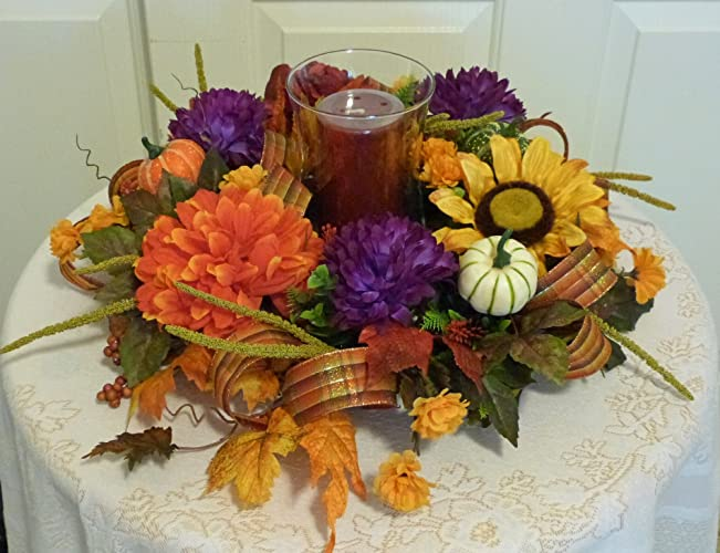 Attirant Fall Candle Centerpiece With Mums, Fall Table Arrangements, Fall Candle  Wreath Ring