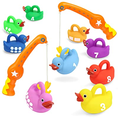 Kidzlane Bath Toys Fishing Game - 2 Toy Fishing Poles and 9 Rubber Duckies - Teaches Colors, Numbers & Shapes - Mold-Proof Design with no Holes - Great Learning Toy for Kids Ages 18M to 5 Years: Toys & Games