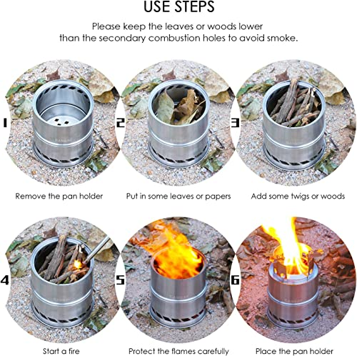 CANWAY Camping Stove, Wood Stove/Backpacking Stove,Portable Stainless Steel Wood Burning Stove