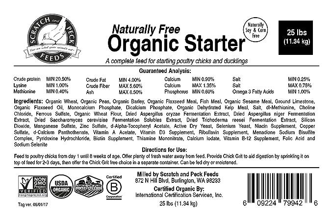 Amazon Naturally Free Organic Starter Chick Feed 25lbs Non