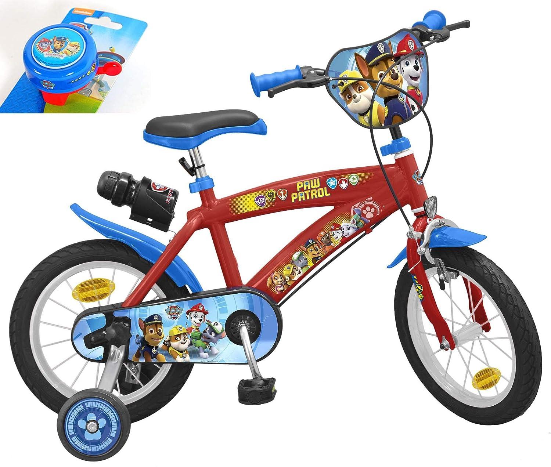 Toimsa Kinderfahrrad Paw Patrol 14 Zoll mit Trinkflasche inkl. Halterung und Extra Fahrradklingel