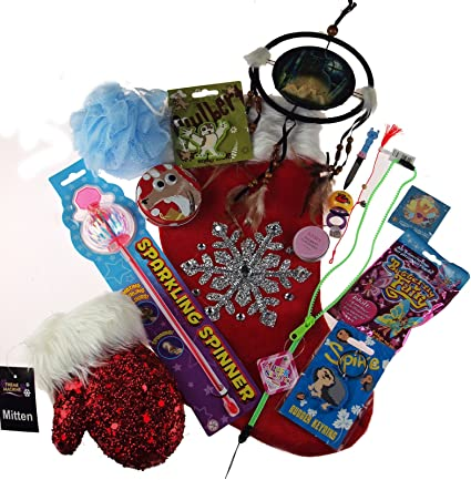 older girls pre filled christmas stocking stuffed with 15 toys novelties and treats - Pre Filled Christmas Stockings