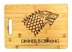 """Dinner is Coming Cutting Board, 13 3/4"""" x 9 3/4"""", Laser Engraved Bamboo, Funny Gift Item"""