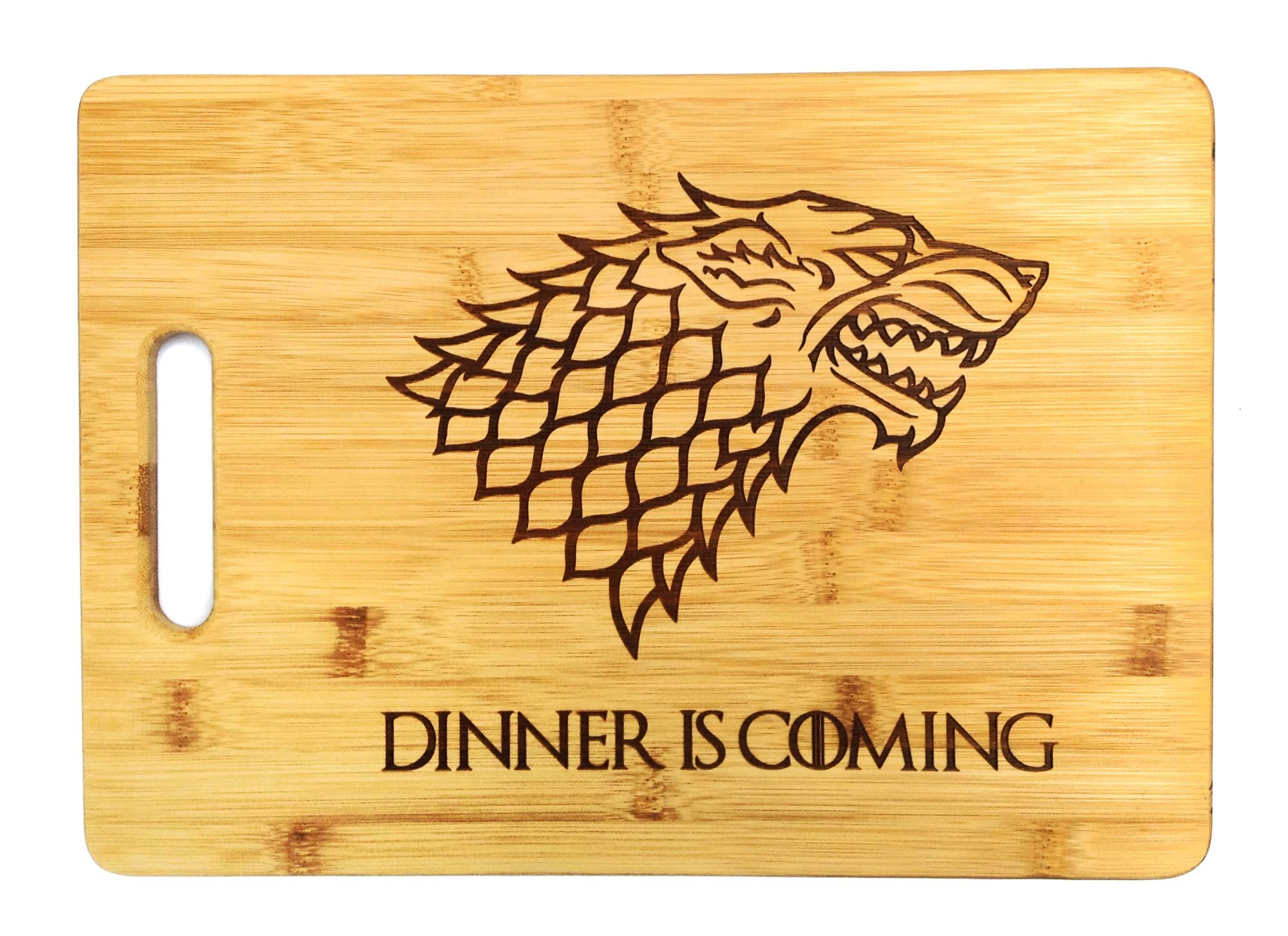 Dinner is Coming Cutting Board, 13 3/4'' x 9 3/4'', Laser Engraved Bamboo, Funny Gift Item