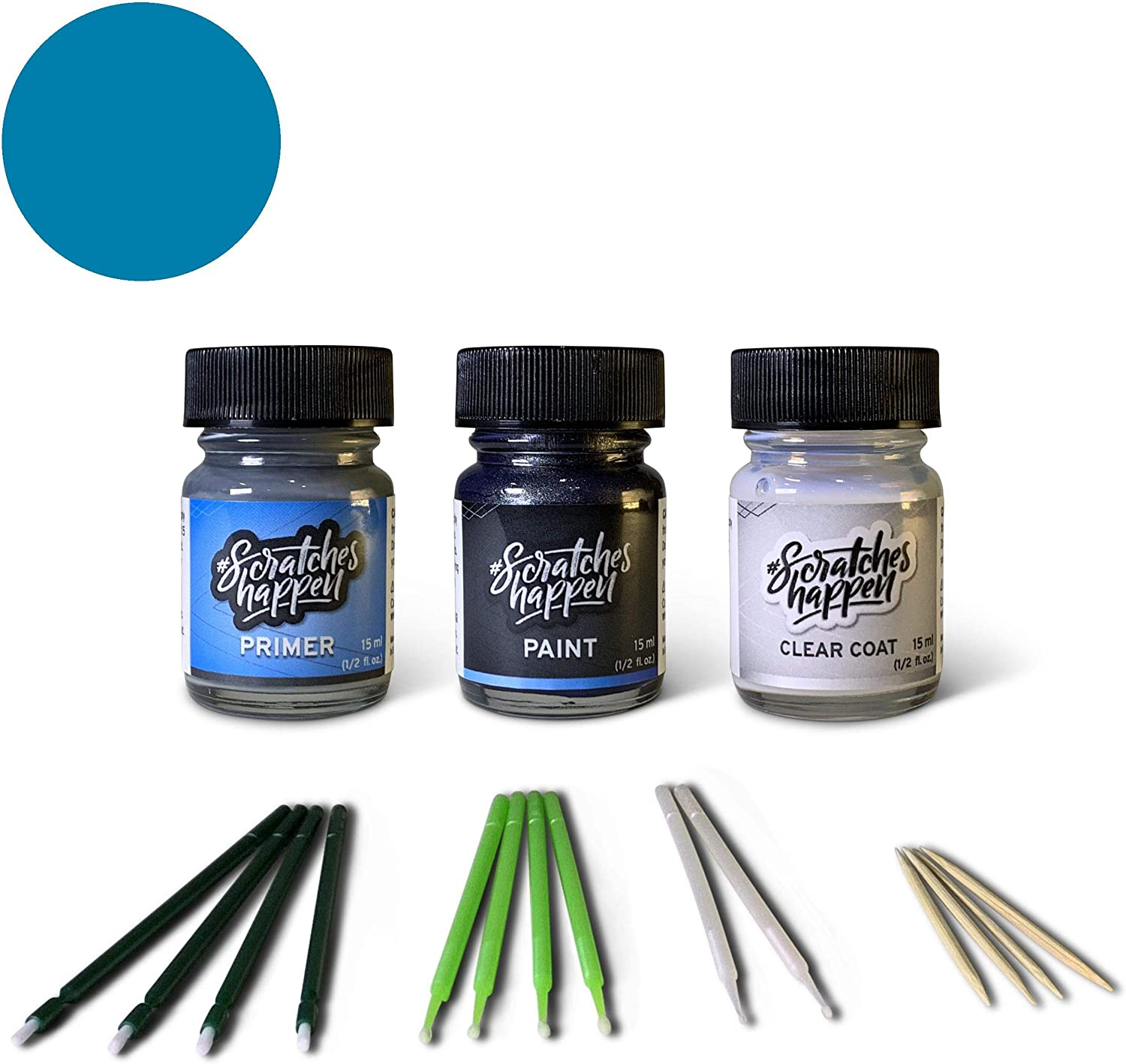 ScratchesHappen Exact-Match Touch Up Paint Kit Compatible with Alfa Romeo Bright Blue/Blue Arienzo/Misano Blue (756/A/PBX) Tricoat - Preferred