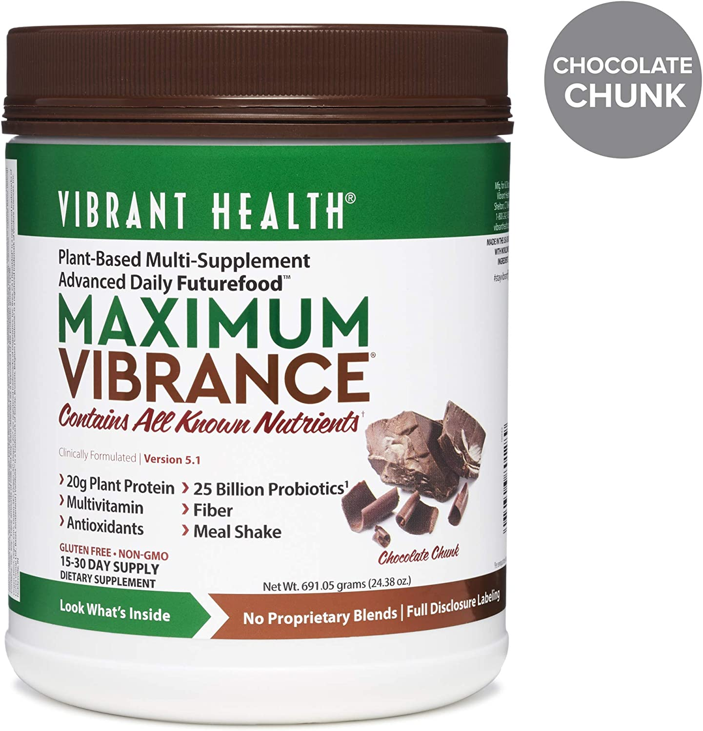 Vibrant Health – Maximum Vibrance, Plant-Based Meal Replacement Rich with Vitamins, Minerals, Antioxidants, and Protein, Gluten Free, Vegetarian, Non-GMO, Chocolate Chunk, 15 Servings
