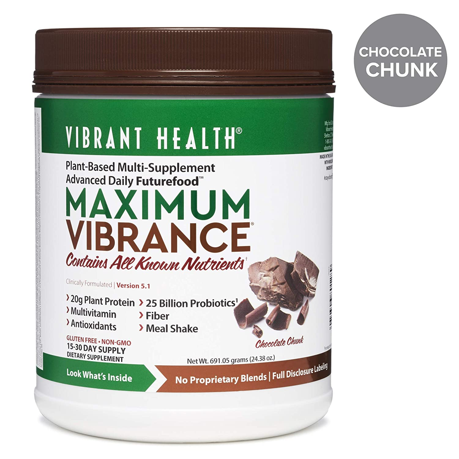 Vibrant Health - Maximum Vibrance, Plant-Based Meal Replacement Rich with Vitamins, Minerals, Antioxidants, and Protein, Gluten Free, Vegetarian, Non-GMO, Chocolate Chunk, 15 Servings